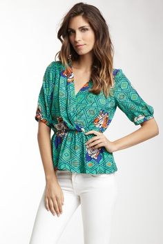 $39.00 - Flying Tomato & More Champagne & Strawberry Printed Silk Blouse by Pop Of Color on @HauteLook