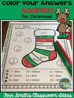 Fern Smith Classroom Ideas Color By Numbers Christmas Math Mixed Addition Facts at TeacherspayTeachers.