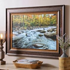 OVER FIREPLACE ? $69.99 lrg Mountain Stream Framed Art Print  45.625L x 1.25W x 33.25H in.