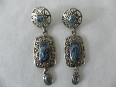 Vintage Edgar Berebi Long Dangle Pierced Blue Marbling Earrings