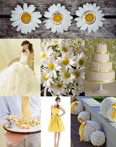 Daisy Wedding Ideas- I like the big globes with the ribbon. Not sure what I would do with them...