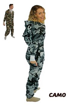 Camo print hooide suit onesies for adults in classic green and brown or black and gray! Green And Brown, Black And Grey, Gray, One Piece Hoodie, Best Pajamas, Redneck Girl, Camo Baby Stuff, Camo Hoodie, Cool Style
