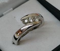 Vintage Ringe - Ring Silber 925 3 klare Kristallsteine schön SR696 - ein…