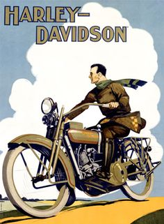 66dc7e36810 Vintage Harley Davidson Canvas Motorcycle Poster on Canvas