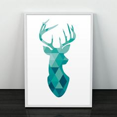 deer watercolor geometric - Google Search