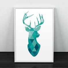 deer watercolor geometric - Google Search