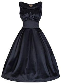 Lindy Bop 'Selema' Vintage Fifties Style Satin Evening Dress (XS, Blue Black) Lindy Bop http://www.amazon.com/dp/B00NHJSGCK/ref=cm_sw_r_pi_dp_W66Dub08EANDT