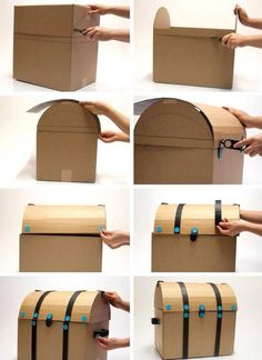 Make your own pirate treasure chest for a pirate party. Make your own pirate treasure chest for a pirate party. Cardboard Furniture, Cardboard Crafts, Paper Crafts, Cardboard Boxes, Cardboard Box Ideas For Kids, Deco Pirate, Pirate Theme, Diy For Kids, Crafts For Kids