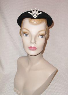 1950s Vintage Black Velour Cocktail Hat with by MyVintageHatShop