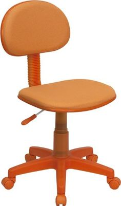 Orange Fabric Swivel Task Chair Small Back Student Chair Orange Fabric Upholstery Pneumatic Seat Height Adjustment Heavy Duty Nylon Base Dual Wheel Casters Orange Fabric, Purple Fabric, Childrens Desk And Chair, Student Chair, Adjustable Office Chair, Home Office Chairs, Office Desk, Desk Chairs, Blue Chairs