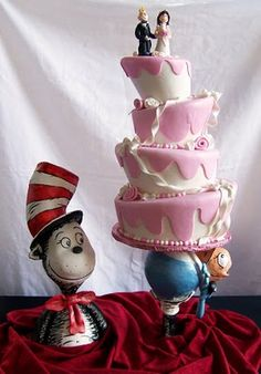 """Cat In The Hat This was my entry in this year's """"Let Them Eat Cake"""" in Philadelphia, which is a charity cake competition/. Pretty Cakes, Cute Cakes, Beautiful Cakes, Sweet Cakes, Crazy Cakes, Fancy Cakes, Amazing Wedding Cakes, Amazing Cakes, Dr Seuss Cake"""
