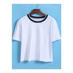 SheIn(sheinside) Contrast Collar Loose Crop White T-Shirt ($8.99) ❤ liked on Polyvore featuring tops, t-shirts, shirts, white, short sleeve tees, short sleeve shirts, loose t shirt, white short sleeve shirt y white cotton t shirts