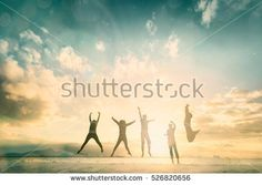 Silhouette generation happy group jump on weekend beautiful background. concept for color run activity, feel relax lifestyle, hope faith love, grow good Trader people celebrate for win stock market