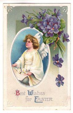 1910 IAP Easter Postcard Sweet Angel Purple Violets Flowers Series No 1147 | eBay