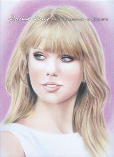 amazing colored pencil drawing of Taylor Swift