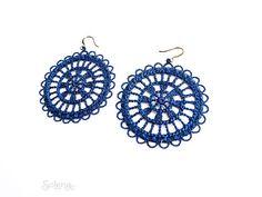 Ronda de brincos de renda azul Cobalto Têxtil Boho jóias