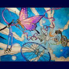 Вокруг света на велосипеде стр.26  акварельные карандаши cretacolor, акварель луч #вокругсветанавелосипеде #thebicyclecoloringbook #bikelife #bicycling #bikeride #велосипед #бабочка