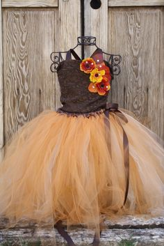 Scent of fall, pumpkin gold, brown and ivory fall flower girl lace dress