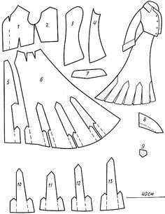 Прогулочное платье с болеро из шерсги в клетку. Крой дан в половинном размере. Масштаб приблизительный: 1 - перед болеро; 2 - спинка болеро;...