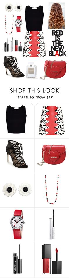 """RED IS THE NEW BL❤CK"" by nadakhalednasar ❤ liked on Polyvore featuring J.W. Anderson, Love Moschino, Chanel, Kim Rogers, Mondaine, MAC Cosmetics and Smashbox"