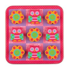 Let your children discover hours of fun with the Owl Tic Tac Toe Magnetic Play Set from Stephen Joseph. Each colorful piece boasts a superior magnetic pull for a strong and secure hold, while the play board doubles as a metal storage tin. Puzzle Board Games, Puzzle Games For Kids, Board Games For Kids, Puzzle Toys, Puzzles For Kids, Road Trip Activities, Wedding Gift Registry, Tic Tac Toe, Game Pieces