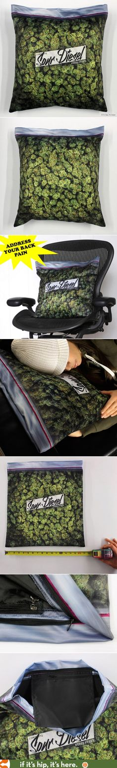 The Giant Stash Pillowcase lets you rest your head on a big bag of Sour Diesel nugs. Purchase info at http://www.ifitshipitshere.com/giant-bag-weed-upon-rest-head/