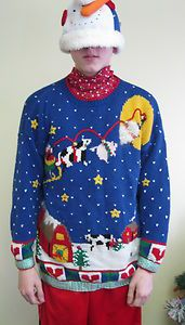 Farmers Barnyard Best in Show Tacky Ugly Christmas Sweater Jumper Men Womens | eBay