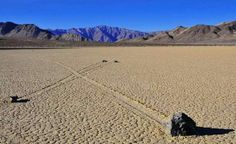 Moving rocks of Racetrack Playa, Death Valley!  Puzzling mystery how they move through the desert on their own. Some weigh up to 700 lbs.