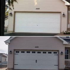Carriage House Style Faux Windows Garage Door Vinyl Decals - For 16 x 12 Panels Faux Garage Door Windows, Side Hinged Garage Doors, Unique Garage Doors, Single Garage Door, Craftsman Garage Door, Garage Door Panels, Garage Door Hardware, Garage Door Styles, Garage Door Design