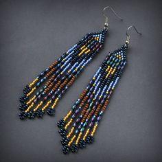 Boho long dangle earrings Fringe beaded earrings by HappyBeadwork