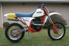 Our 1983 KTM 504 GS now MC, restored from what looked like an artifact from the sunken Oceanos cruise liner. Ktm Motorcycles, Motocross Bikes, Vintage Motocross, Sport Bikes, Vintage Bikes, Vintage Motorcycles, Bike Rider, Dirtbikes, Road Bikes
