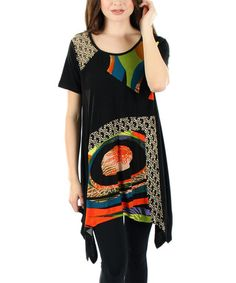 Look what I found on #zulily! Black & Orange Abstract Sidetail Tunic #zulilyfinds