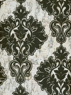 Sold in 3 roll incriments only, Splendor Wallpaper Book, Black and White Damask Cork Wallpaper Textile Pattern Design, Textile Patterns, Textiles, Cork Wallpaper, Damask Wallpaper, Victorian Pattern, White Damask, Gothic House, Wall Patterns
