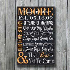 Personalized 5th Anniversary GiftWedding by doudouswooddesign, $50.00