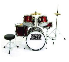 TKO 5 Piece Junior Drum Set - Real wood shells!? Heckuva deal at this price - 3 - 8 years old