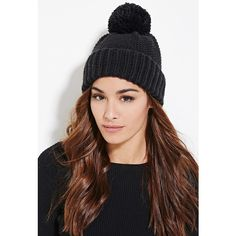 Forever 21 Forever 21 Women's  Textured Knit Pom Beanie ($8.90) ❤ liked on Polyvore featuring accessories, hats, forever 21 beanie, ribbed beanie hat, forever 21 hats, oversized pom pom beanie and oversized beanie hat