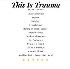 {Trauma is not one thing, it's a significant life change that causes you to feel distressed.} ⁣ ⁣ We cannot determine what trauma means for… Mental Health First Aid, Mental And Emotional Health, Emotional Abuse, Mental Health Awareness, Inner Child Healing, Trauma Therapy, Meditation, Self Improvement, Frases