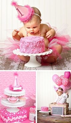 ❤Pretty 1st Birthday Party! What a beautiful baby. :)