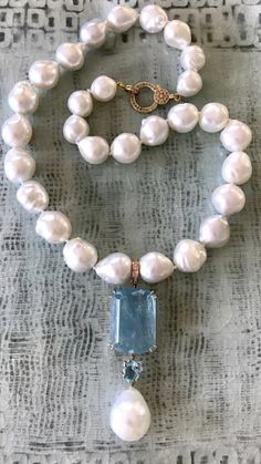 Aquamarine Jewelry, Pearl Jewelry, Beaded Jewelry, Fine Jewelry, Jewelry Necklaces, Jewelry Making, Jewellery, Ancient Jewelry, Antique Jewelry