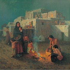 Celebrating the 100th anniversary of the founding of the Taos Society of Artists in 1915. An image by E Irving Couse, one of the founding members. On view in 'Colors of the Southwest'.  Taos Pueblo - Moonlight 1914 E. Irving Couse American, 1866 - 1936 oil on canvas Gift of Kibbey W. Couse, 1930 via New Mexico Museum of Art FB
