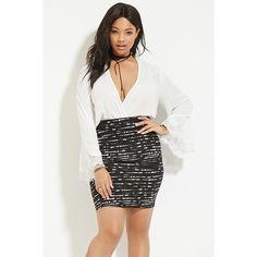 Forever 21 Plus Women's  Plus Size Ink Blot Skirt ($13) ❤ liked on Polyvore featuring plus size women's fashion, plus size clothing, plus size skirts, forever 21 skirts, knee length pencil skirt, patterned skirt, full length skirt and print skirt