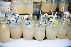 Navy and Yellow Wedding signature drinks in mason jars