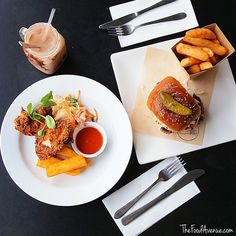 """We wish we were starting our week with these delicious dishes photographed by Instagrammer @thefoodavenue. """"The Fox and Bow cafe has a droolworthy all day brunch menu, including buttermilk fried chicken with polenta chips and brioche bun beef burgers. Oh yeah."""" #visitcanberra #restaurantaustralia"""