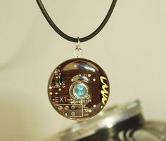 Handcrafted Cyberpunk 'Cyber Eye' Pendant Necklace by CosmicRobot1, £14.00