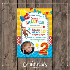 Curious George Invitation with Photo for Boy or Girl - Design 006