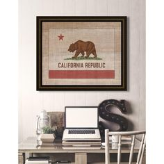 "29 in. x 23 in. ""California State Flag"" Framed Giclee Print Wall Art"