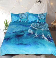 BKasals Watercolor Dreamcatcher Bedding Set King Blue Bedclothes for Adult Kids Luxury Chinese Style Quilt Cover 3 Pcs AU Queen
