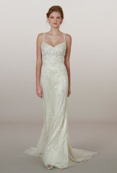 Brides.com: Liancarlo - Fall 2014. Style 5878, hand-beaded embroidered French tulle sheath wedding dress with illusion straps, Liancarlo