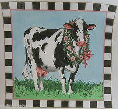 Handpainted Needlepoint Canvas Sandra Gilmore Blossom Cow Farm 18 269 | eBay  $170