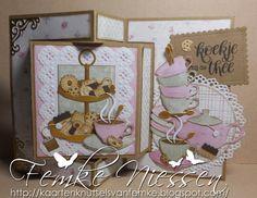 Made By Femke Niessen: Tea and cookies Dutch Doobadoo swing card. Cricut Birthday Cards, Happy Birthday Cards, Swing Card, Coffee Cards, Marianne Design, Folded Cards, Color Themes, High Tea, Tea Party